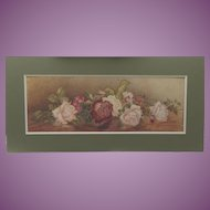 VACATION SALE -35%!! Antique English Two feet long Watercolour Painting of  ROSES Flowers 1902