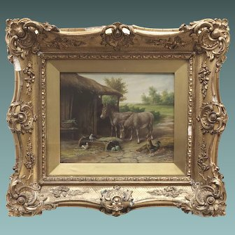 Antique English Oil Painting of Donkey Donkeys on a Farm with their Stable