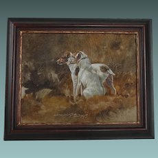 Oil Painting of 2 Jack Russell Dogs Terriers by Keith Proctor 1993