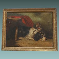 English Antique Oil Painting of Terrier Dog and his Friend - Probably a Sheepdog