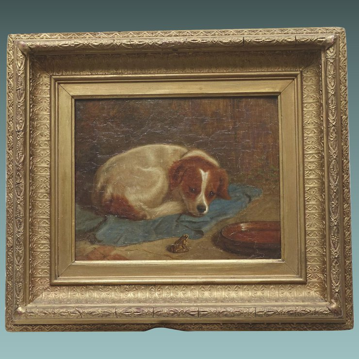 Antique Oil Painting English of a Small Dog Regarding a Frog ...