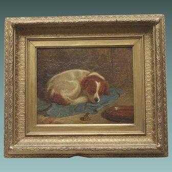 Antique Oil Painting English of a Small Dog Regarding a Frog Substantial Original Gilt Gesso Ornament Frame