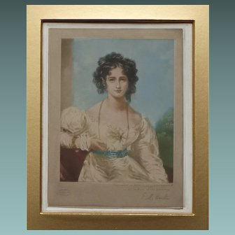 Antique Mezzotint of Miss Croker by E M Hester after the portrait by Sir Thomas Lawrence c.1908
