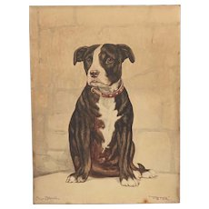 "c.1920s Watercolour Painting of 'Peter"" a Bull Terrier Dog by Mil-Brown"
