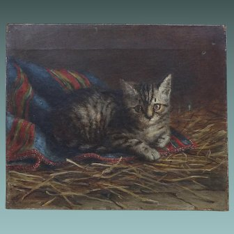 Antique English Oil Painting 'Kitten in the Stable' by Listed Artist M E Greenhill 1879
