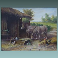 ANTIQUE English Oil Painting of Donkeys in a Farmyard c.1900-30 MAGNIFICENT Swept Frame