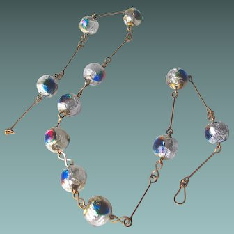 Italian Murano early mid century necklace art glass foiled beads peacock eye