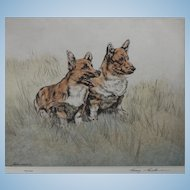 Henry Wilkinson A.R.E   A.R.C.A   1921-2011 Two 'Royal' Welsh Corgi Dogs Drypoint colour etching Signed in Pencil  100/150