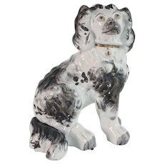 EARLY c.1850 Staffordshire Antique Pottery Single Spaniel Dog