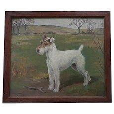 Portrait of Shian 1932-41 Fox Terrier Dog Oil Painting 1936 by Listed artist Barbara Shiffner - Human - A Yates