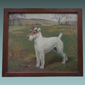 Portrait of Shian 1932-41 Fox Terrier Dog Oil on Board 1936 by Listed artist Barbara Shiffner - Human - A Yates