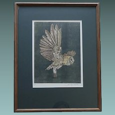 Contemporary 20th C Etching of a Barn Owl 1/6 by Jennifer Alathino