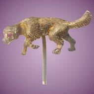 Nice Antique Stick Pin of a Dog Gilt Metal Ormolu Lapel Pin