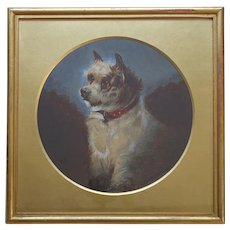 CHARMING Terrier Dog Antique English Watercolour Painting in Original Gorgeous Gold Mount by E Steele