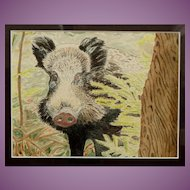 Wild Boar in English Countryside Watercolour Painting by Local Artist 1992