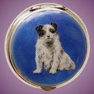 Guilloche Enamel Terrier Dog Portrait on a Silver Pill box/Rouge Compact 1932 English