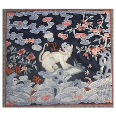 Chinese Silk on Silk Embroidery of a Dog of Fo Buddhistic c.1910