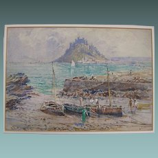 Antique English Watercolour painting of Fishermen & Boats in front of Mont St Michel, France c. 1910