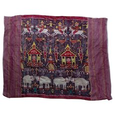 Cambodian Ikat Silk Textile of Elephants Horses Birds Wall Hanging Scarf Stole Mid 20th Century