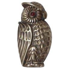 English Victorian Owl Brass Vesta