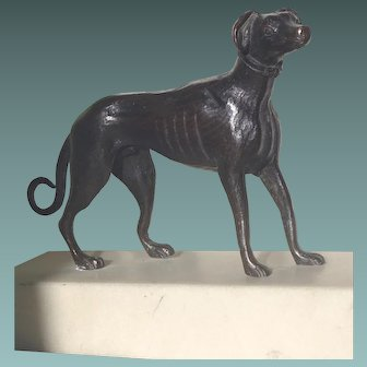Antique Bronze sculpture of a Greyhound Dog on Marble Base. c. 1900