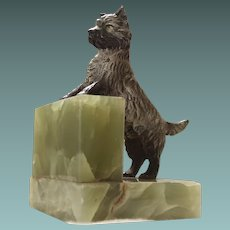 Wonderful Terrier Dog Cold Painted Bronze on Green Onyx 1930s/40s