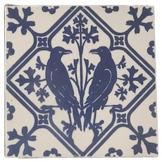Two Late 19th Century Minton Tiles Blue and White Crows or Ravens Birds Gothic Revival Antique