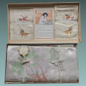 Irish Damask Hand Painted with Pheasants and Dogs 54 inches Square 4 Serviettes 1940s 'Old Bleach'