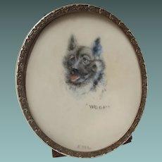 True Miniature Painting of an Alsatian aka German Shepherd Dog in a Gilt Frame English