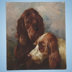 Otter Hounds  Dogs ( 1 of a Pair) by Colin Graeme Roe 1892 Oil Painting on Canvas Antique English