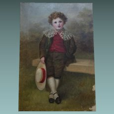 Antique English Edwardian Oil Painting of a Young Boy - unframed