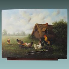 Mid 20th Century Oil Painting of a FarmYard, Hens Chickens  by Ray Jacob English