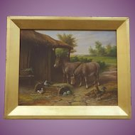 Antique oil painting of an English Farmyard with Ponies (Horses) Hens etc. C. 1900 English School
