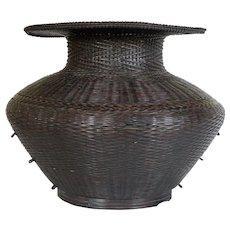 HUGE 14 inch TALL Japanese Ikebana Vase In Chinese Archaic Style c. 1900 Meiji