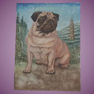 Watercolour Painting of a Pug Dog by Csaba Pasztor 2012