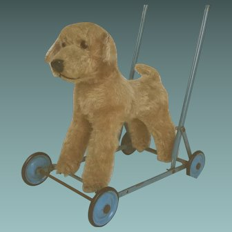 ADORABLE 1950s English Chiltern Push Along Mohair DOG TOY on WHEELS in Good and STURDY condition.