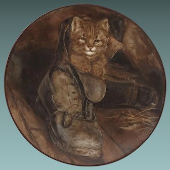 "Antique Painting on Ceramic ""Puss in Boots"" Kitten Cat by FG Adlard after the work by Frank Paton RA"