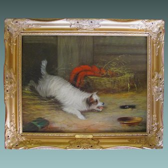 SUBSTANTIAL Antique Oil Painting of a TERRIER DOG by Artist JEAN LANGLOIS fl.1870-90 in beautiful GILT frame