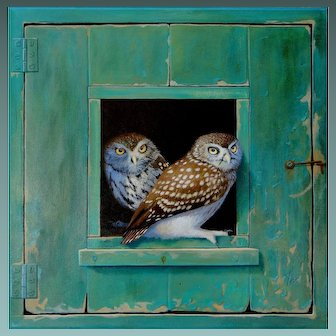 FINALLY - a NEW  painting from Master of the Trompe L'oeil Alan WESTON - Two Little OWLS