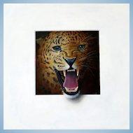 ROAR! Trompe L'Oeil Leopard's Head Oil Painting by Master of the Art Alan Weston