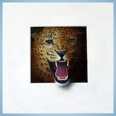 ROAR! Trompe L'Oeil Leopard's Head Oil Painting by Master of the Art Alan Weston