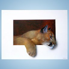 FABULOUS Large MOUNTAIN LION Trompe l'oeil painting by Alan Weston - Master of the art big cat