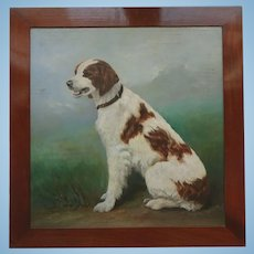 Antique Edwardian English Oil Painting of a Spaniel (type) Dog in Polished Wood Frame