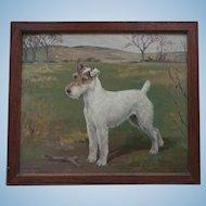 Oil Painting of a Champion Fox Terrier Dog - Shian - by Eleanor Barbara Georgina Shiffner (1896 - 1982) Oil under Glass 1930s
