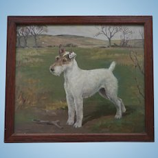 Oil Painting of a Champion Fox Terrier Dog - Shian - by Eleanor Barbara Georgina Shiffner (1896 - 1982) Oil under Glass 1930s