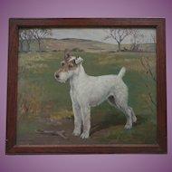 VACATION SALE -35% - Oil Painting of a Champion Fox Terrier Dog - Shian - by Eleanor Barbara Georgina Shiffner (1896 - 1982)