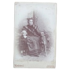 Antique Australian Cabinet Card of Mother Child and Large Dog by Kedwell, George  in West Maitland : 1893-1904