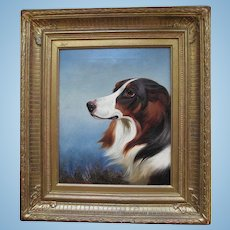 Spaniel Oil Painting by Colin Graeme Roe c.1858-1910 Antique English