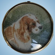 Miniature Painting on Paper of a Spaniel Dog by Isobel R Beard fl. 1930s