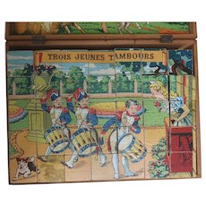 1930s Block Puzzle of Colourful Children's Stories - France with Original Wooden Box Jigsaw